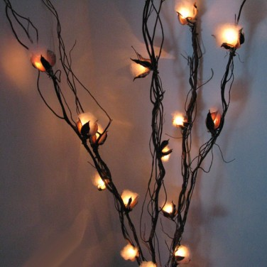 Cotton Flower Twig Lights