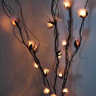 Cotton Flower Twig Lights