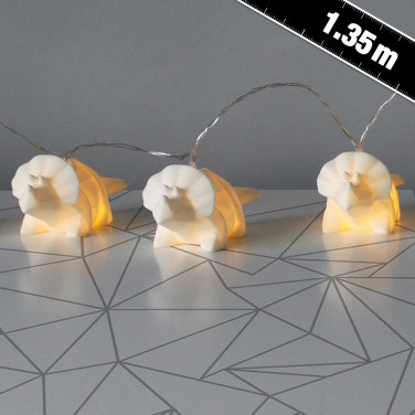 Origami String Lights White Dinosaur