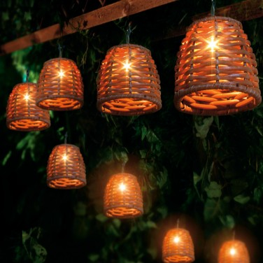 these low voltage wicker cone string lights are suitable for use both. Black Bedroom Furniture Sets. Home Design Ideas
